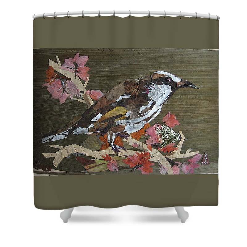 Bird Shower Curtain featuring the mixed media Bird White Eye by Basant Soni