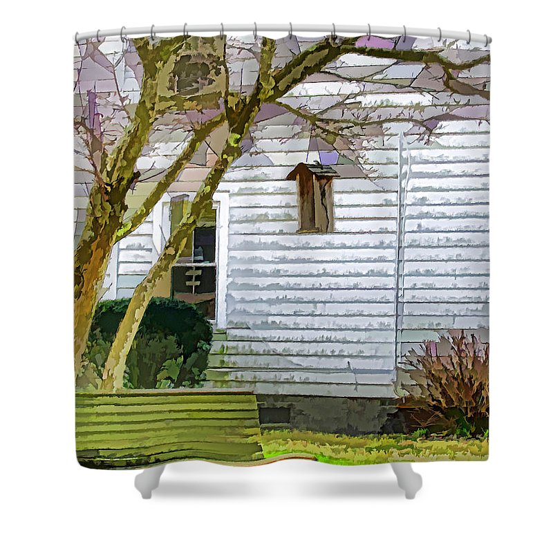Bird Shower Curtain featuring the painting Birdhouse 6 by Jeelan Clark