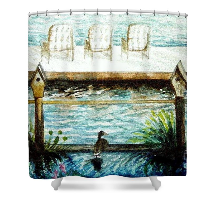 Birdhouse Shower Curtain featuring the painting Birdhouse Haven by Elizabeth Robinette Tyndall