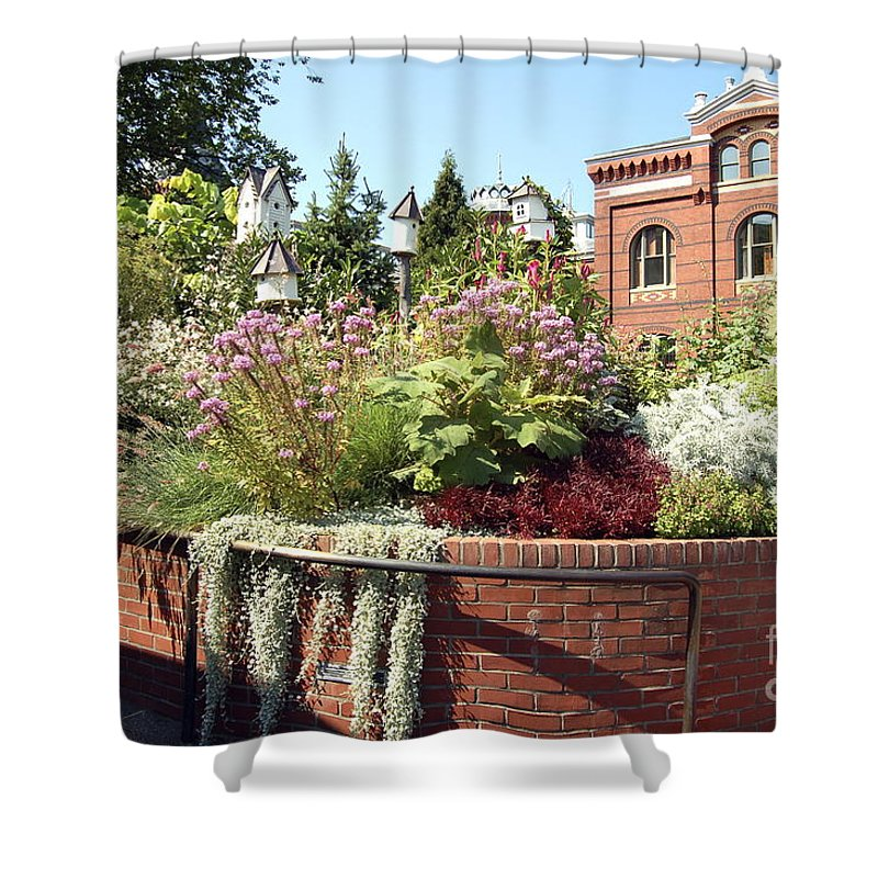Smithsonian Shower Curtain featuring the photograph Birdhouses At The Smithsonian by Faith Harron Boudreau