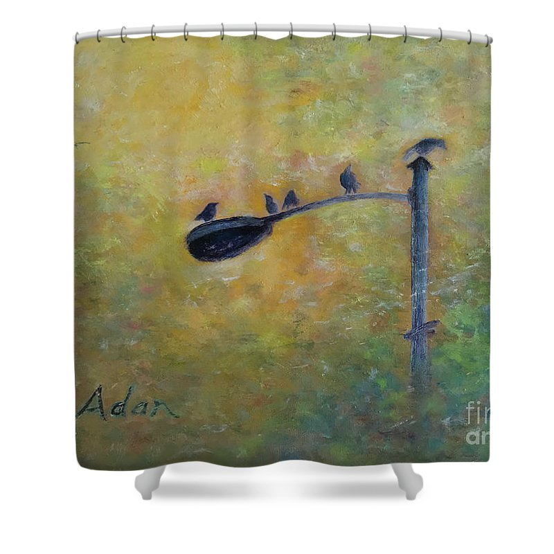 Birds Shower Curtain featuring the painting Birds At Pfluger Bridge Austin by Felipe Adan Lerma