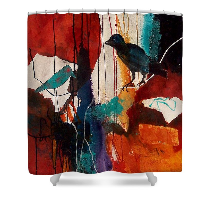 Abstract Expressionism Shower Curtain featuring the painting Bird's Eye View by Donna Frost