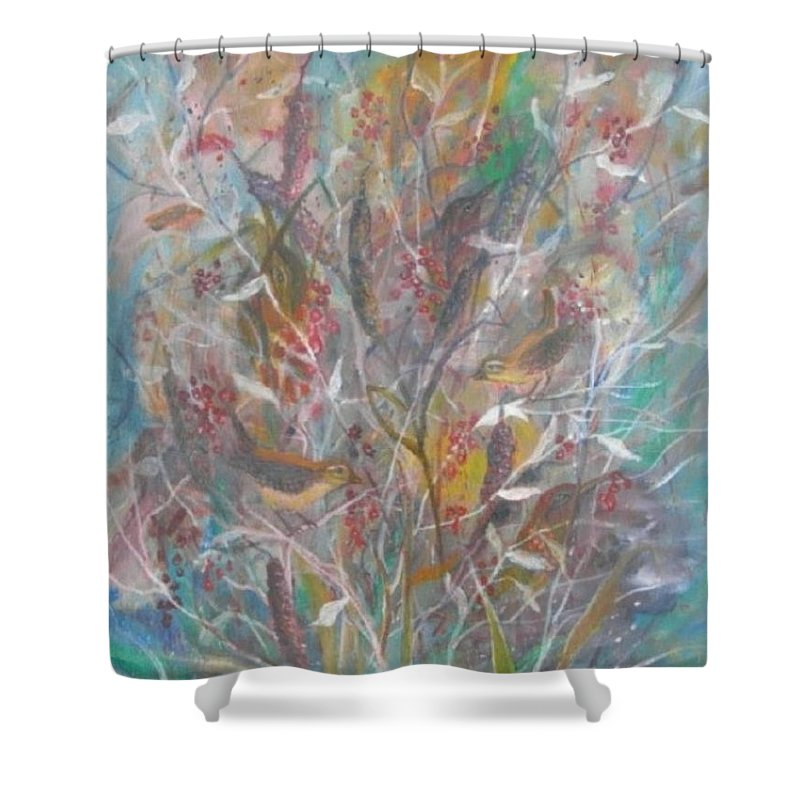 Birds Shower Curtain featuring the painting Birds In A Bush by Ben Kiger