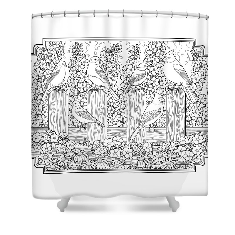 Birds Shower Curtain Featuring The Painting In Flower Garden Coloring Page By Crista Forest