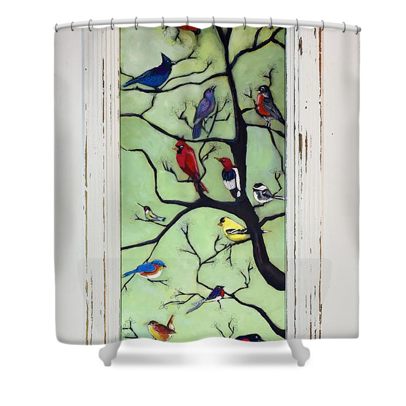 Birds Shower Curtain featuring the painting Birds In The Tree Framed by David Hinds