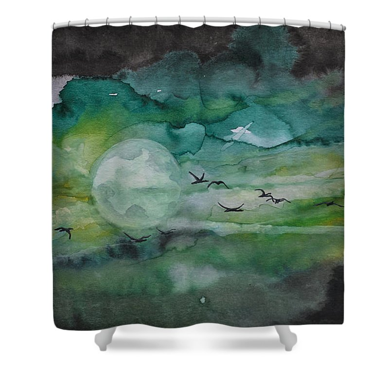 Night Shower Curtain featuring the painting Birds by Kristijan Kis