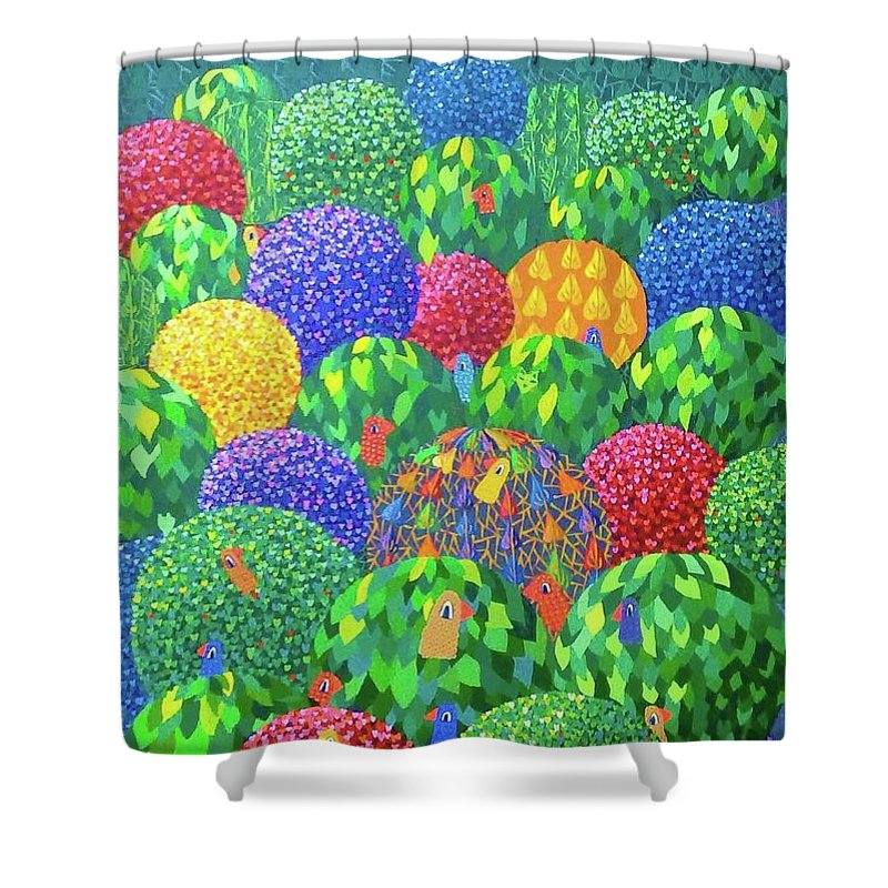Trees Shower Curtain featuring the painting Birds by Mimi Revencu