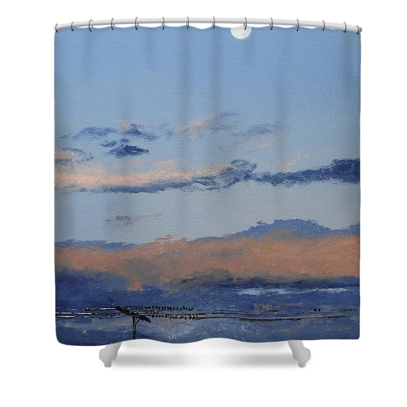 Landscape Shower Curtain featuring the painting Birds On A Wire by Barbara Andolsek