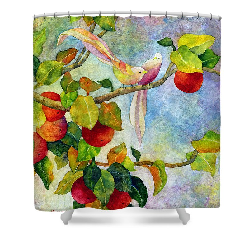 Birds Shower Curtain featuring the painting Birds On Apple Tree by Hailey E Herrera
