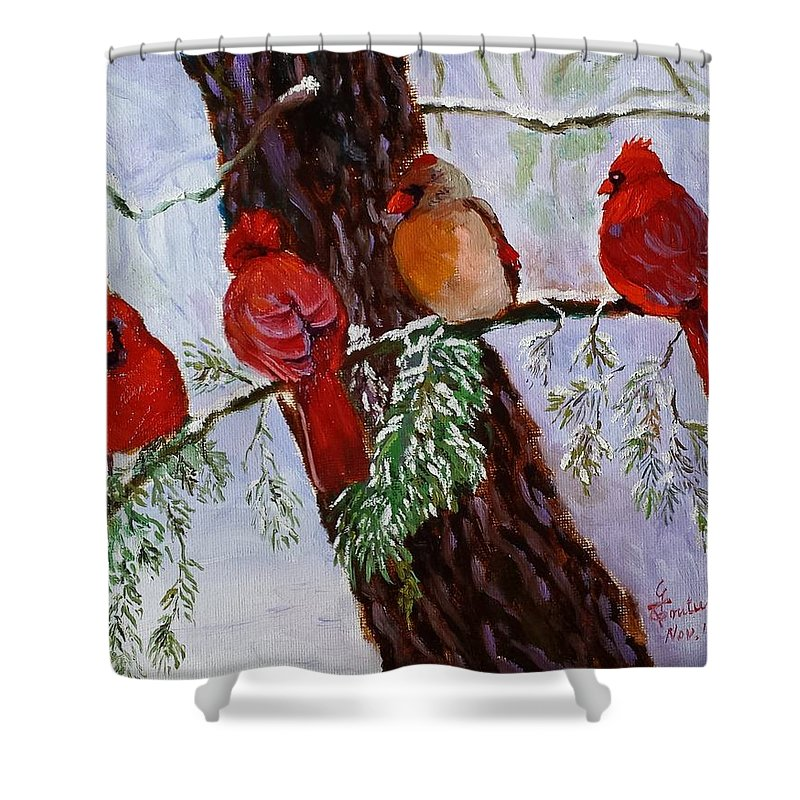 Birds-snow-winter-lebanon-lebanese-painting-oil Painting- Shower Curtain featuring the painting Birds On Branch In Snow by Ghazi Toutounji