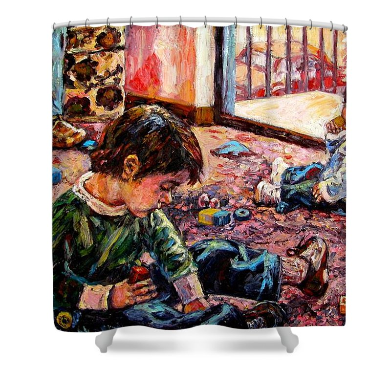 Figure Shower Curtain featuring the painting Birthday Party Or A Childs View by Kendall Kessler