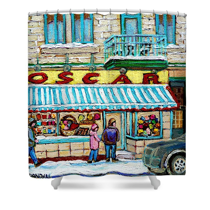 Biscuiterie Oscar Shower Curtain featuring the painting Biscuiterie Oscar Rue Ontario by Carole Spandau