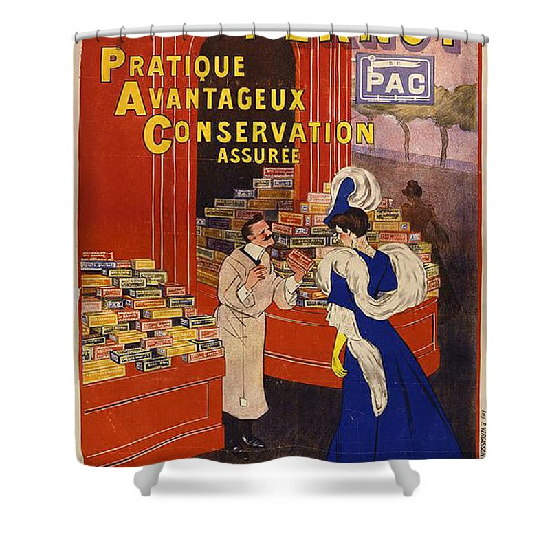 Retro Shower Curtain featuring the painting Biscuits Pernot by Nostalgic Prints