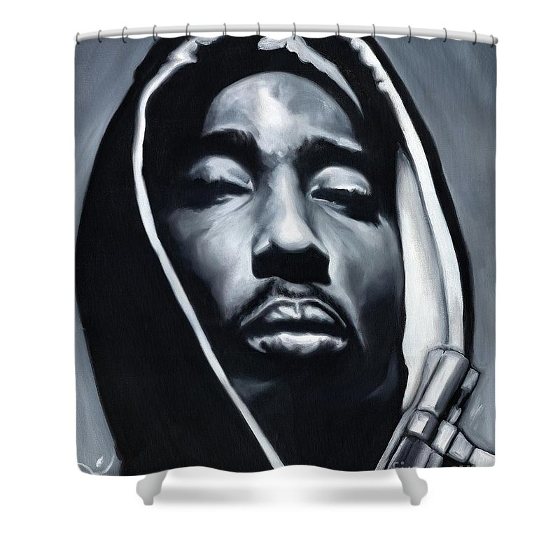 Tupac Shower Curtain Featuring The Painting Bishop By Jamie Rodgers