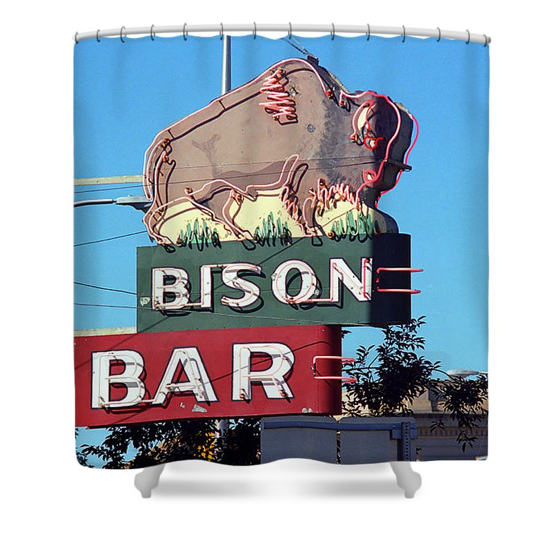 America Shower Curtain featuring the photograph Miles City Montana - Bison Bar by Frank Romeo