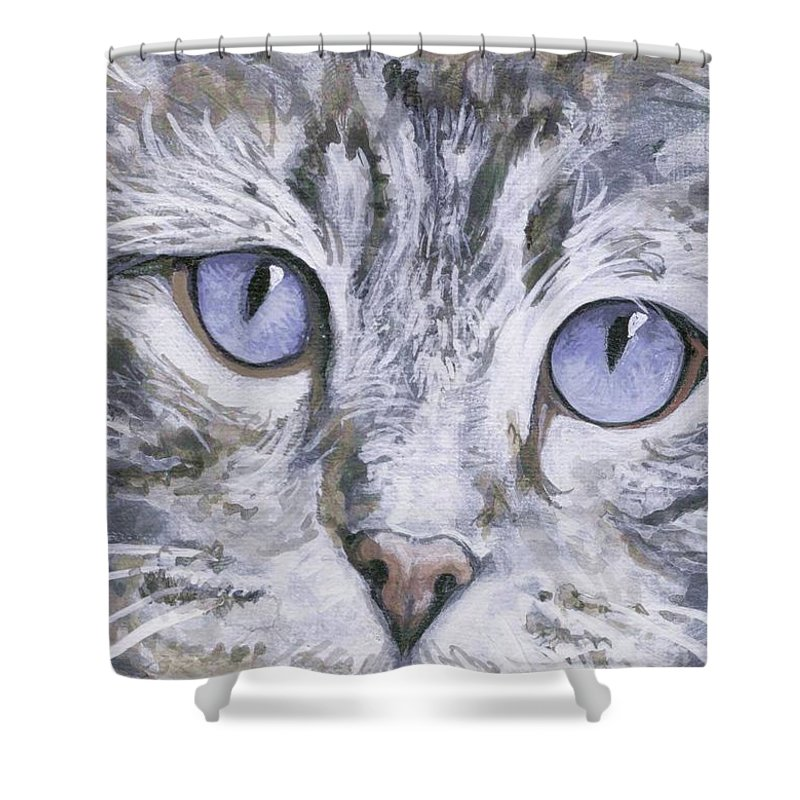 Charity Shower Curtain featuring the painting Bisous by Mary-Lee Sanders