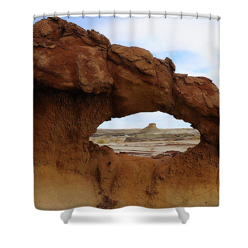 Bisti Wilderness Shower Curtain featuring the photograph Bisti Arch by Alan Toepfer