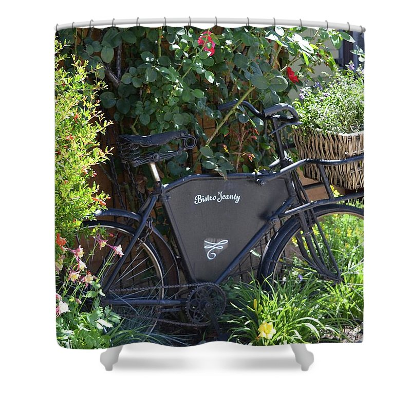 French Shower Curtain featuring the photograph Bistro Jeanty by Laura Leigh McCall