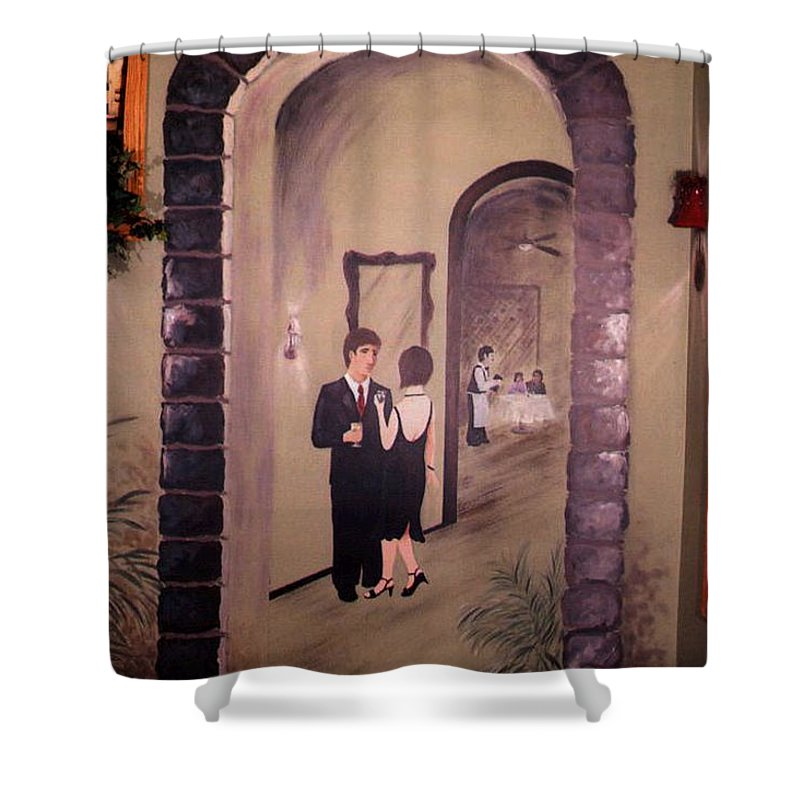 Mural Shower Curtain featuring the painting Bistro Mural Detail 6 by Rachel Christine Nowicki