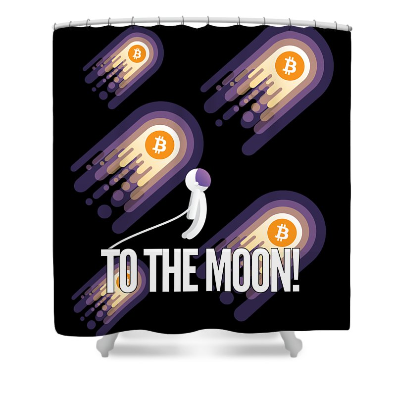 Bitcoin Shower Curtain featuring the drawing Bitcoin To The Moon Astronaut Cryptocurrency Humor Funny Space Crypto by Cameron Fulton