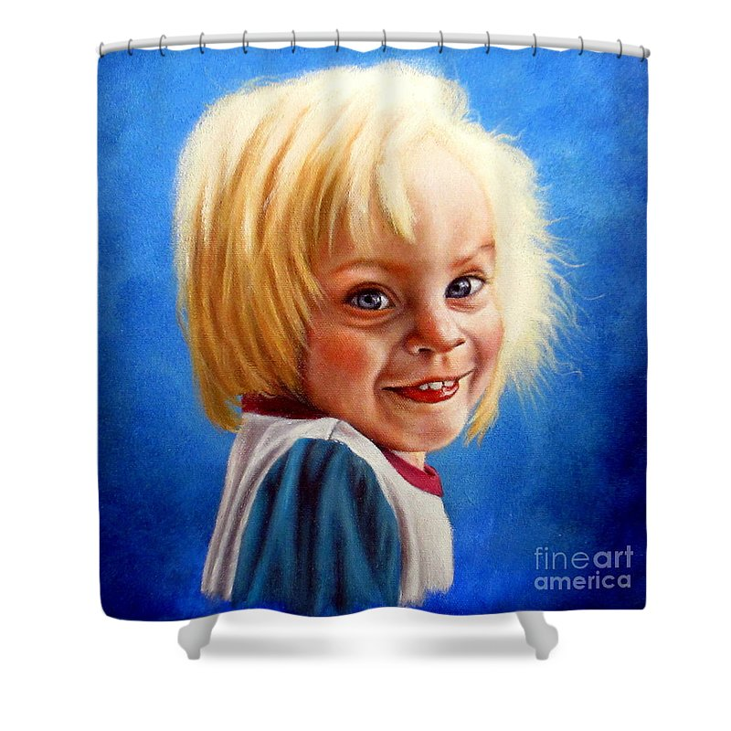 Girls Shower Curtain featuring the painting Bite Your Tongue by Georgia's Art Brush