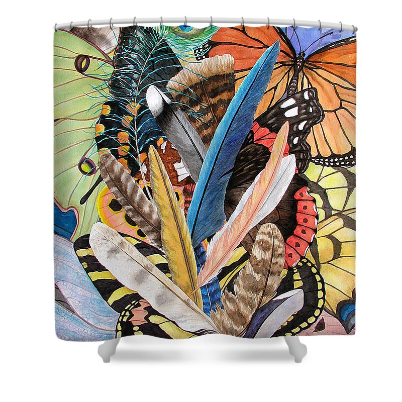 Feathers Shower Curtain featuring the painting Bits Of Flight by Lucy Arnold