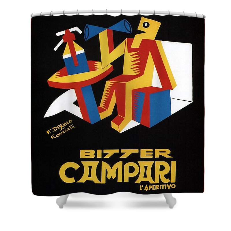 Vintage Shower Curtain featuring the mixed media Bitter Campari - Aperitivo - Vintage Beer Advertising Poster by Studio Grafiikka