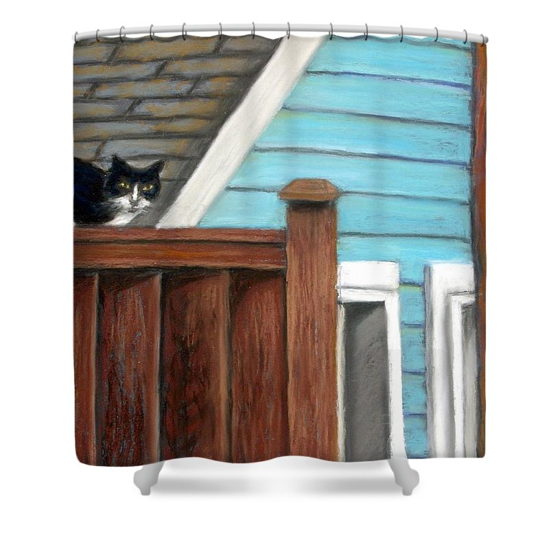 Cat Shower Curtain featuring the painting Black Alley Cat by Minaz Jantz