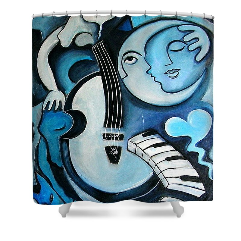 Abstract Shower Curtain featuring the painting Black And Bleu by Valerie Vescovi