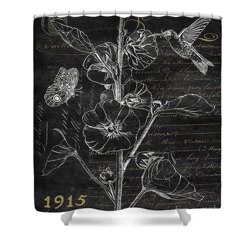 Hummingbird Shower Curtain featuring the painting Black And Gold Hummingbirds 1 by Debbie DeWitt