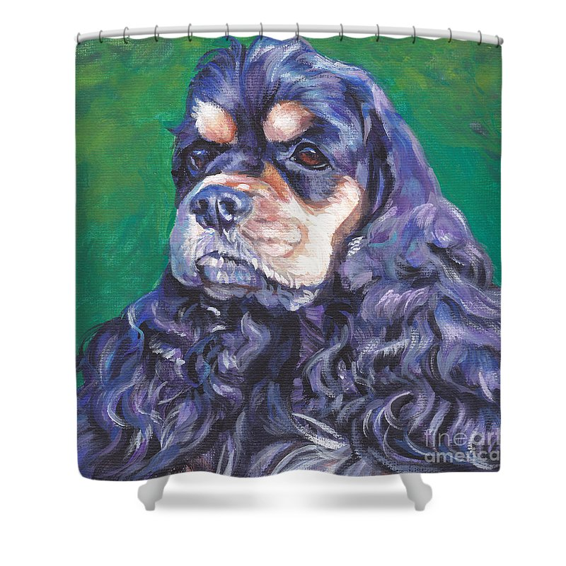 Black And Tan Shower Curtain Featuring The Painting Cocker Spaniel By Lee Ann