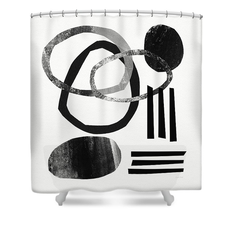 Black And White Abstract Shower Curtain featuring the mixed media Black and White- Abstract Art by Linda Woods
