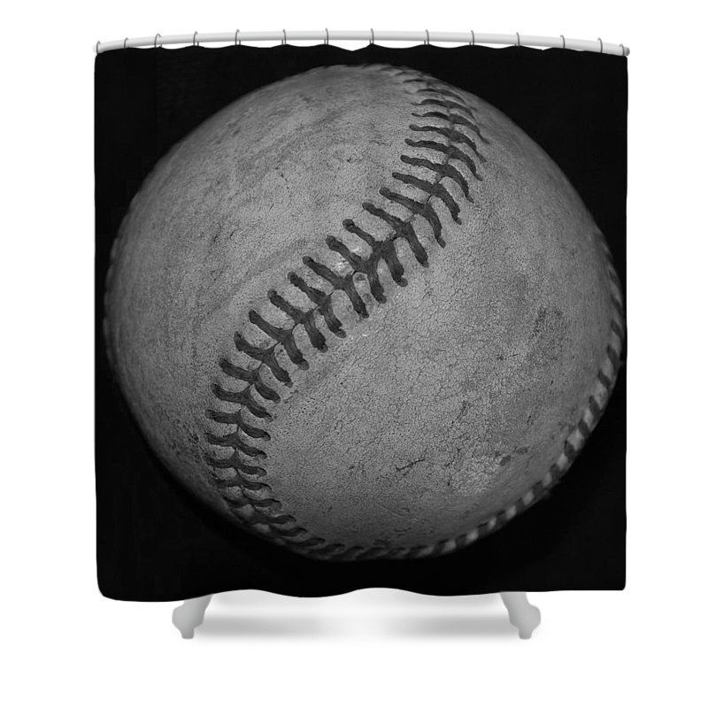 Baseball Shower Curtain featuring the photograph Black And White Baseball by Rob Hans