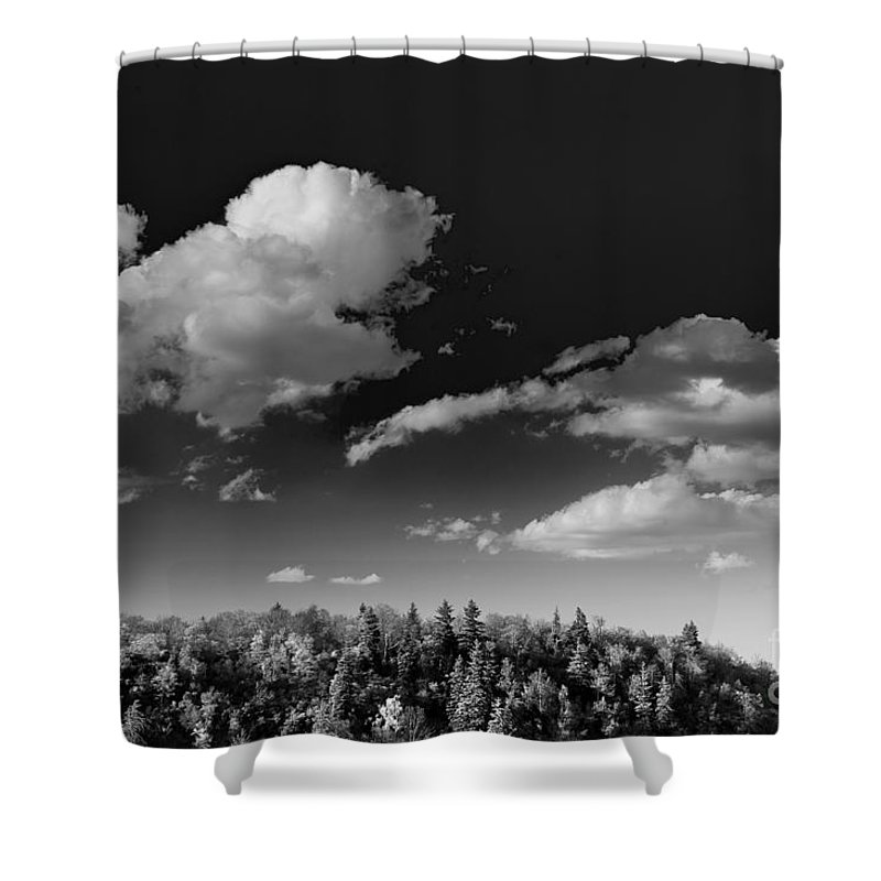 Black And White Shower Curtain featuring the photograph Black And White Blue Ridge Mountains by Chip Laughton