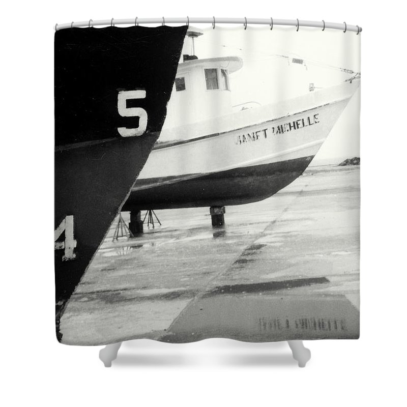 Boat Reflection Black And White Shower Curtain featuring the photograph Black And White Boat Reflection by Cindy New