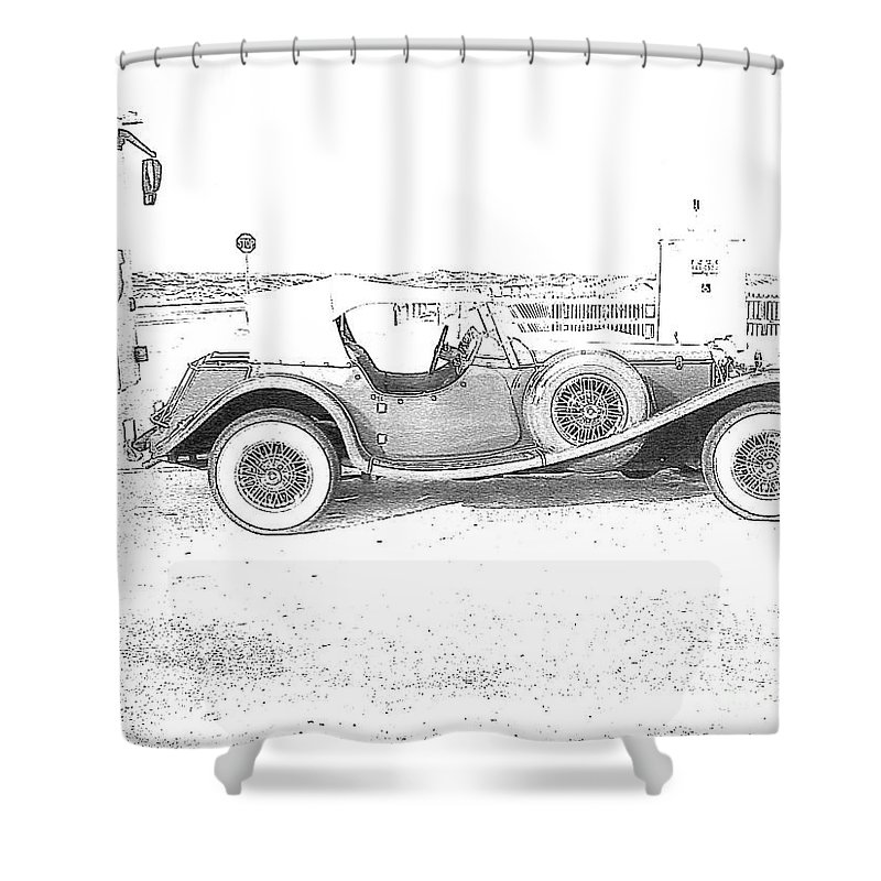 Black And White Car Shower Curtain featuring the photograph Black And White Car by Michelle Powell