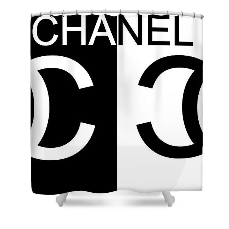 Black And White Chanel Shower Curtain Featuring The Mixed Media 2 By