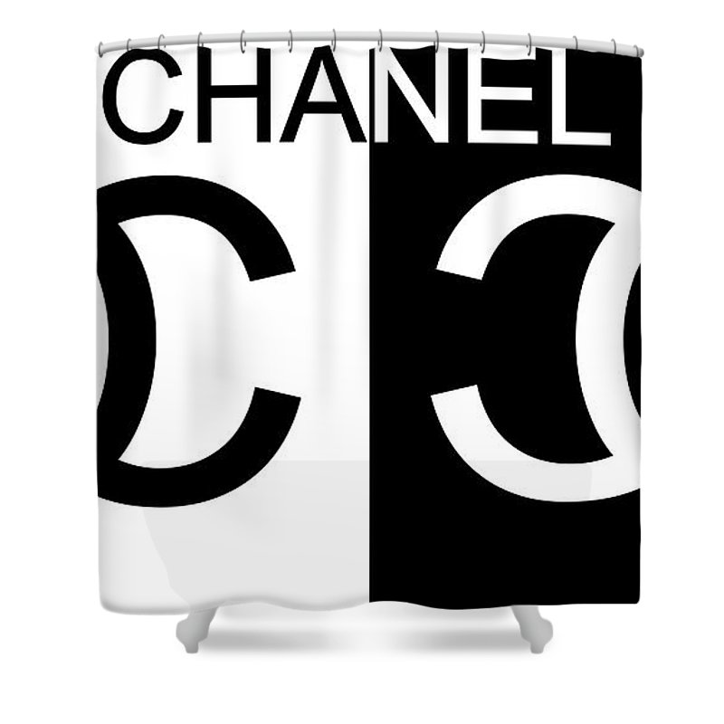 Black And White Chanel Shower Curtain Featuring The Mixed Media By Dan