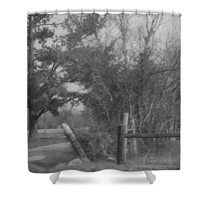 Prints Shower Curtain featuring the photograph Black And White Country Scene by Nancy Stutes