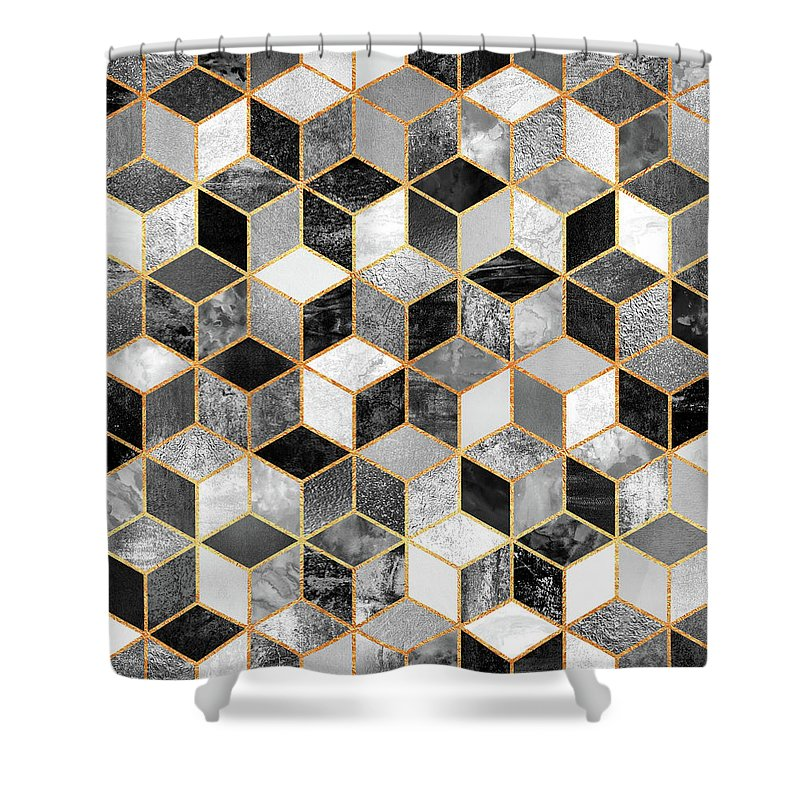 Graphic Design Shower Curtain featuring the digital art Black and White Cubes by Elisabeth Fredriksson