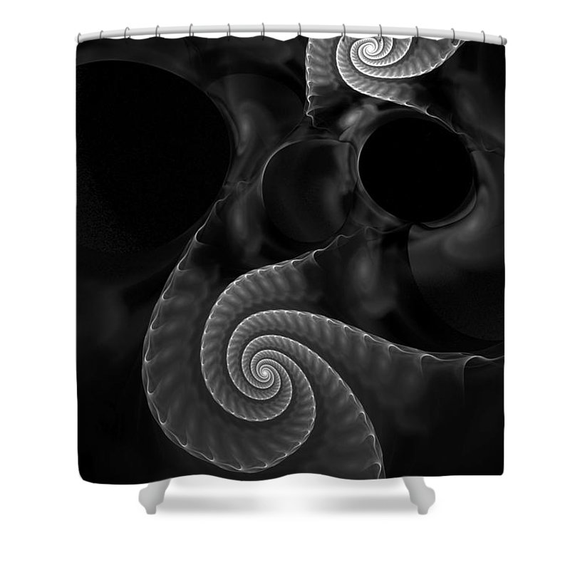 Fractal Shower Curtain featuring the digital art Black And White Fractal 080810 by David Lane