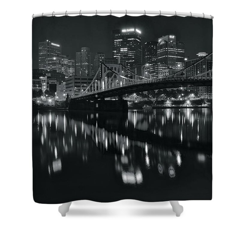 Pittsburgh Shower Curtain featuring the photograph Black And White Lights by Frozen in Time Fine Art Photography