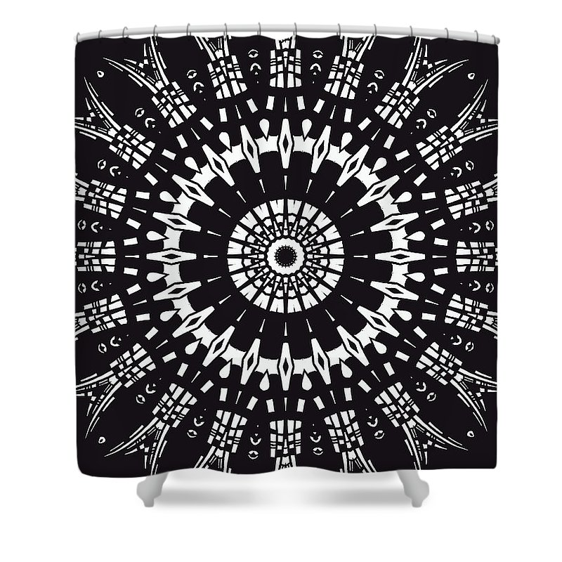 Digital Shower Curtain featuring the digital art Black And White Mandala No. 1 by Joy McKenzie