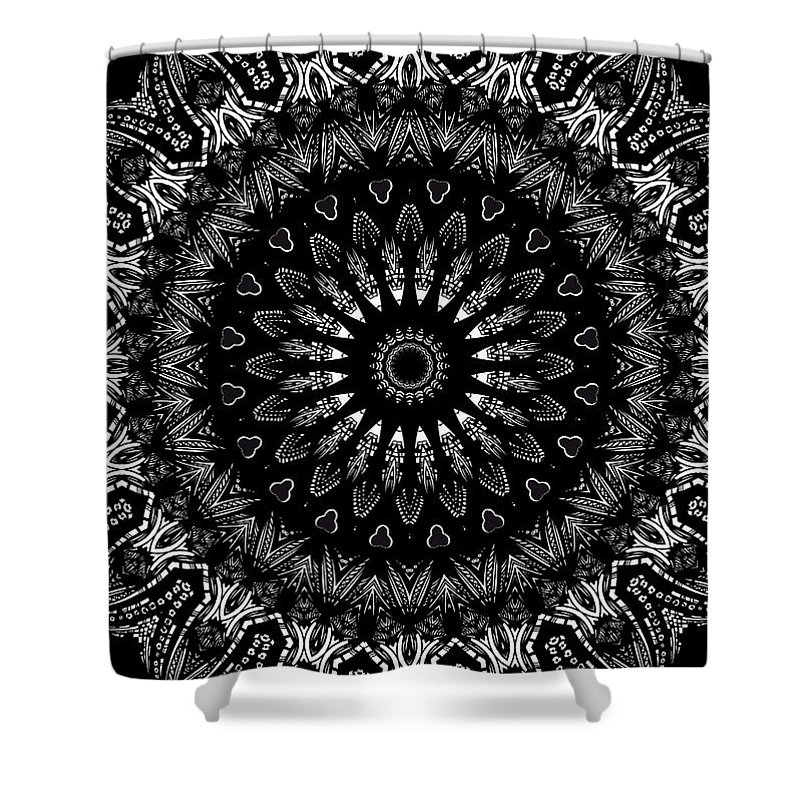 Digital Shower Curtain featuring the digital art Black And White Mandala No. 2 by Joy McKenzie
