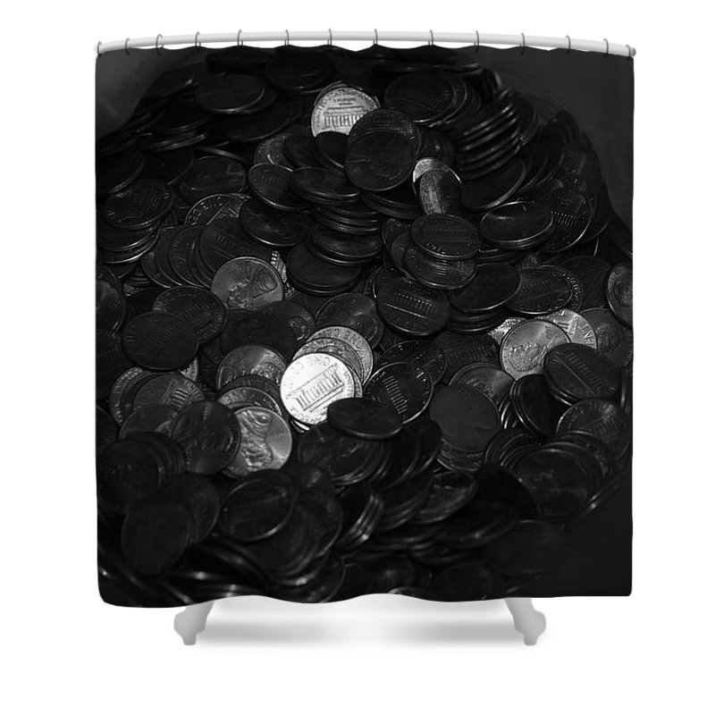 Abstract Shower Curtain featuring the photograph Black And White Pennies by Rob Hans