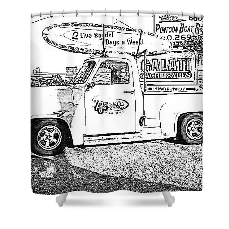 Black And White Shower Curtain featuring the photograph Black And White Sketch Truck by Michelle Powell