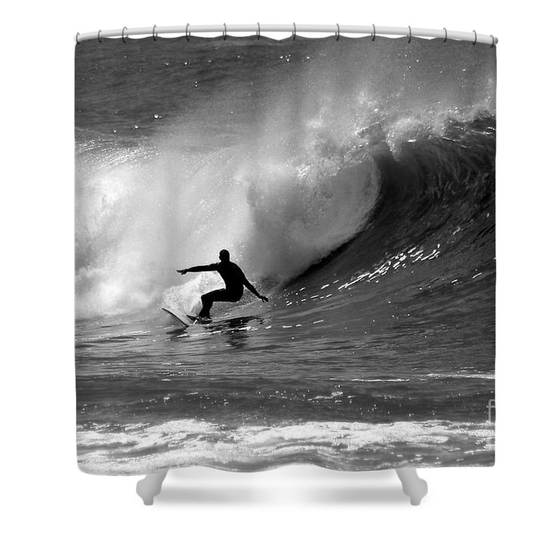 Black And White Shower Curtain featuring the photograph Black And White Surfer by Paul Topp