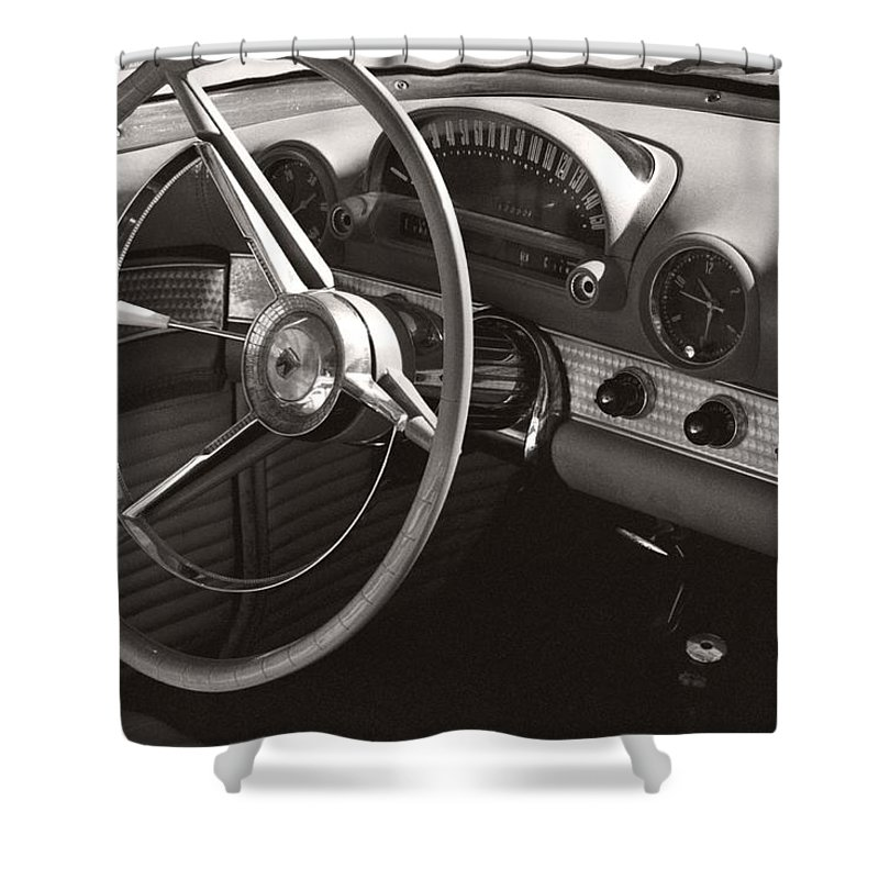 Black Shower Curtain featuring the photograph Black And White Thunderbird Steering Wheel And Dash by Heather Kirk