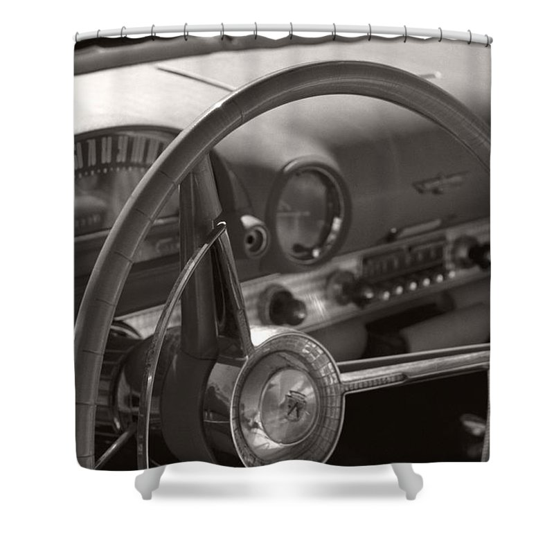 Black And White Photography Shower Curtain featuring the photograph Black And White Thunderbird Steering Wheel by Heather Kirk