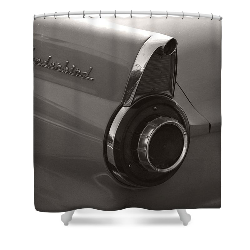Black And White Photography Shower Curtain featuring the photograph Black And White Thunderbird Tail Fin by Heather Kirk